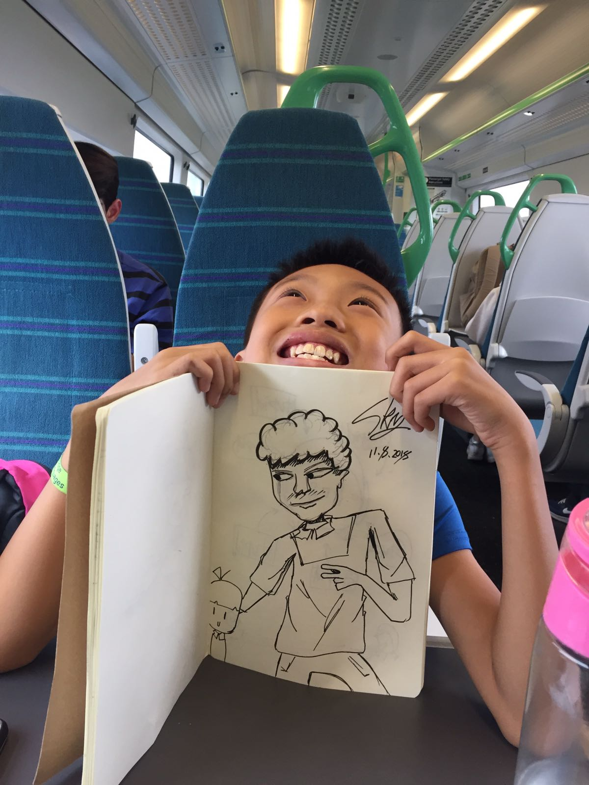 Drawing on train