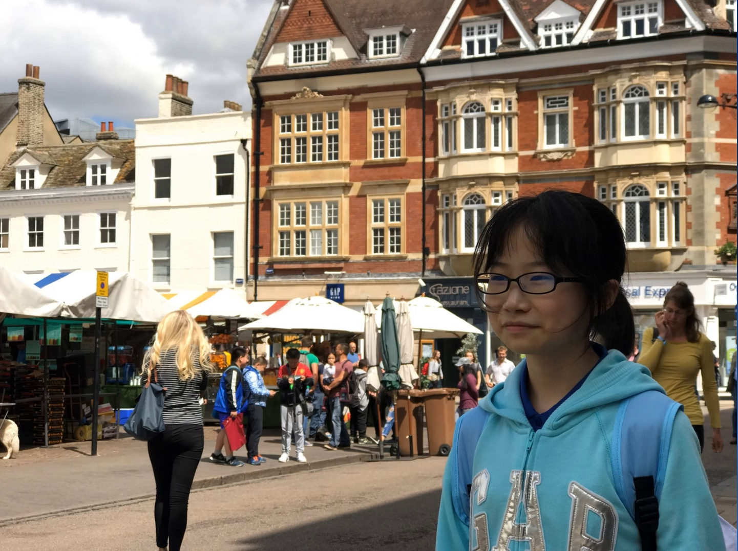 girl in market square